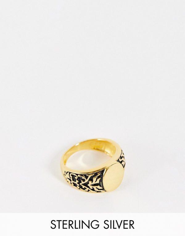 ASOS DESIGN sterling silver signet ring with vintage design in 14k gold plate