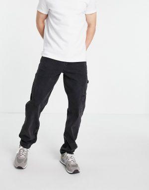 ASOS DESIGN straight leg carpenter jeans in washed black
