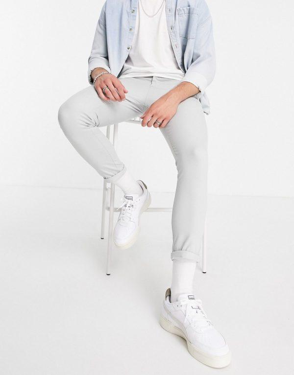 ASOS DESIGN super skinny cropped chinos in light gray-Grey