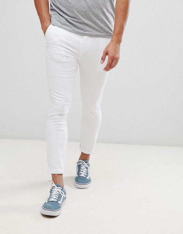 ASOS DESIGN super skinny cropped chinos in white