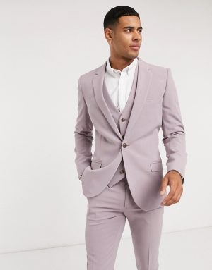 ASOS DESIGN super skinny suit jacket in dusty mauve-Purple