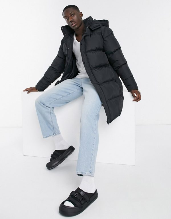 ASOS DESIGN sustainable longline puffer jacket in black