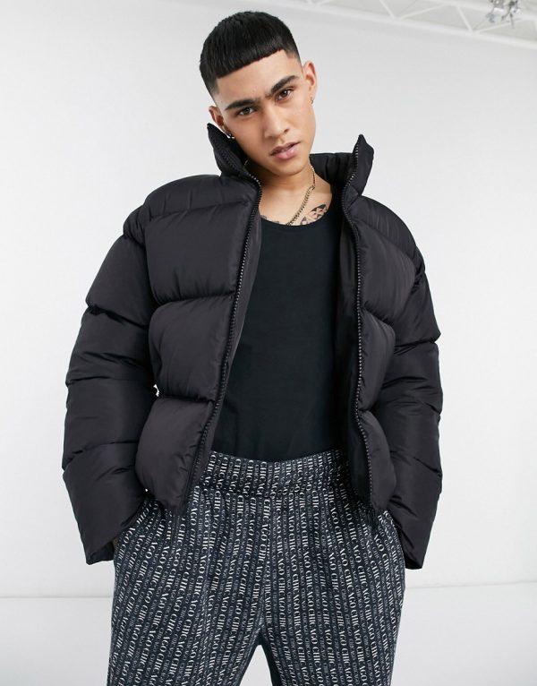 ASOS DESIGN sustainable puffer jacket in black