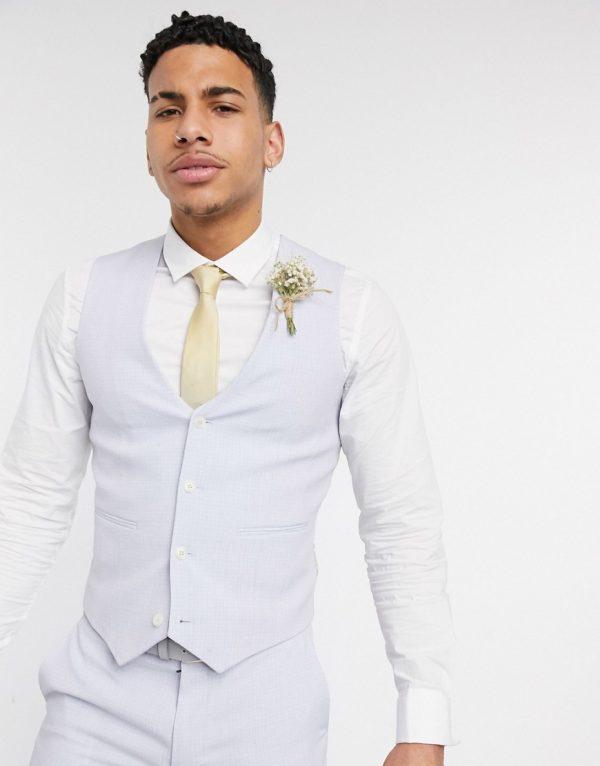 ASOS DESIGN wedding super skinny suit suit vest in lilac crosshatch-Purple