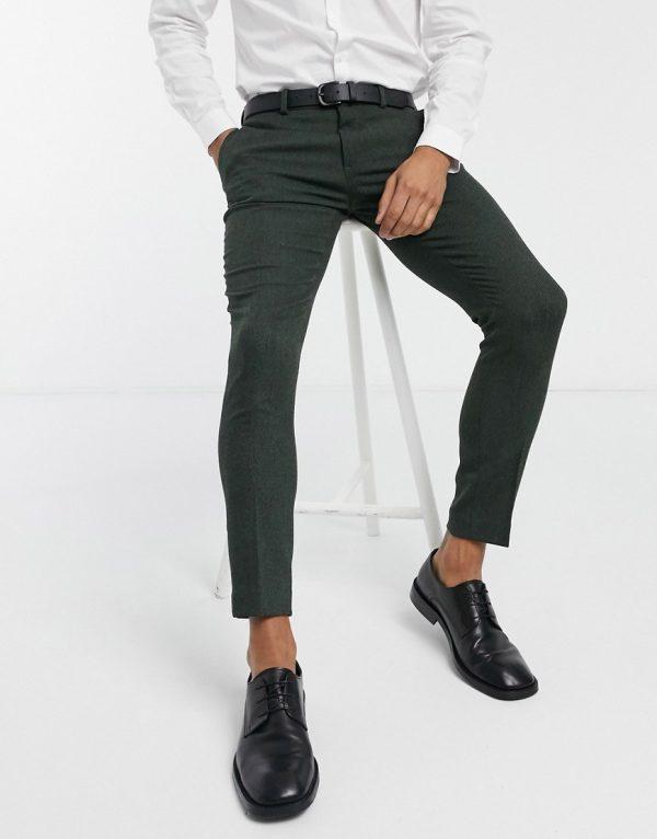 ASOS DESIGN wedding super skinny wool mix suit pants in khaki twill-Green