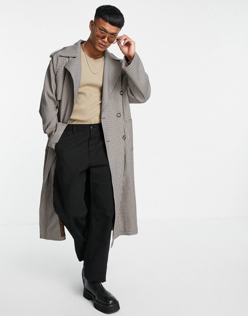 ASOS Design Longline Oversized Double-Breasted Check Trench Coat