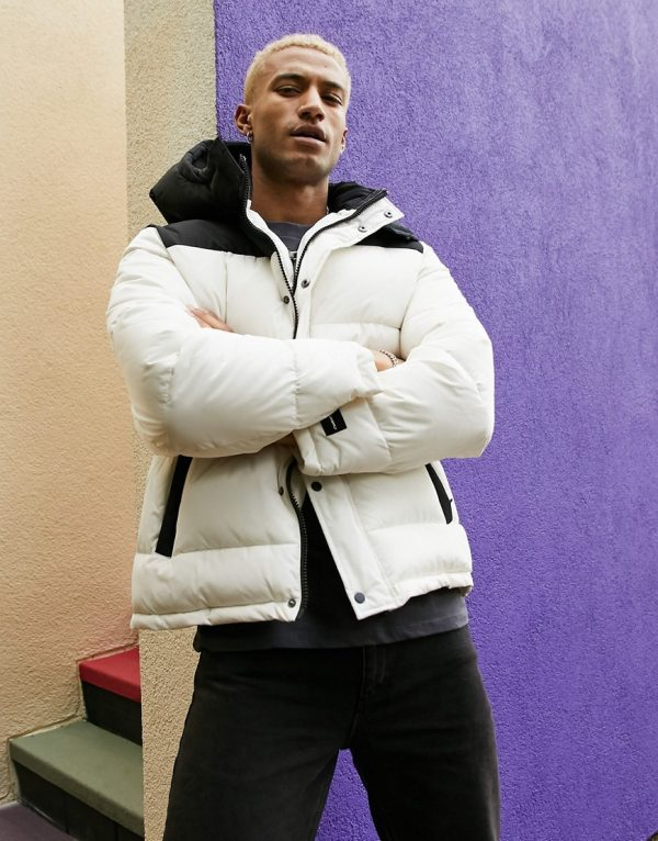 ASOS Unrvlld Spply puffer jacket with color block panel in ecru-White