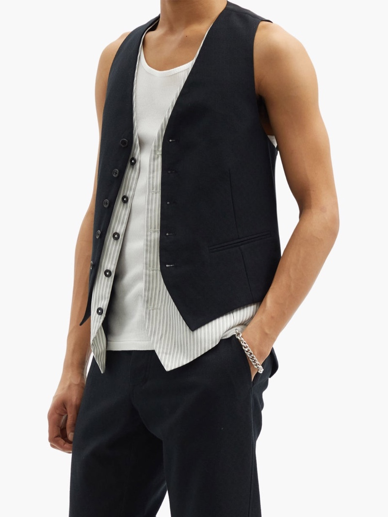 Ann Demeulemeester Layered Cotton-Twill Waistcoat