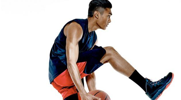 Asian Man Basketball Action Shot