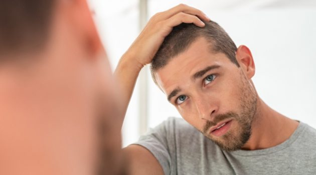 Attractive Man Shaved Haircut Mirror