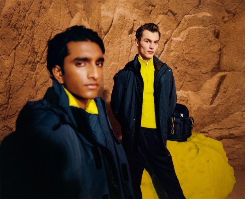 Models Jeenu Mahadevan and Kit Butler appear in BOSS's fall-winter 2021 men's campaign.