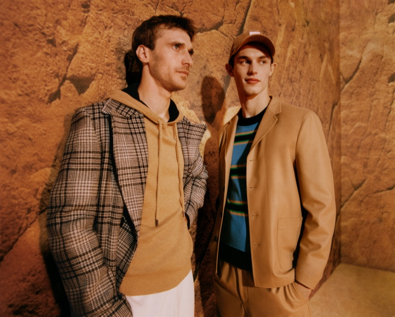 Top models Clément Chabernaud and Kit Butler front BOSS's fall-winter 2021 men's campaign.