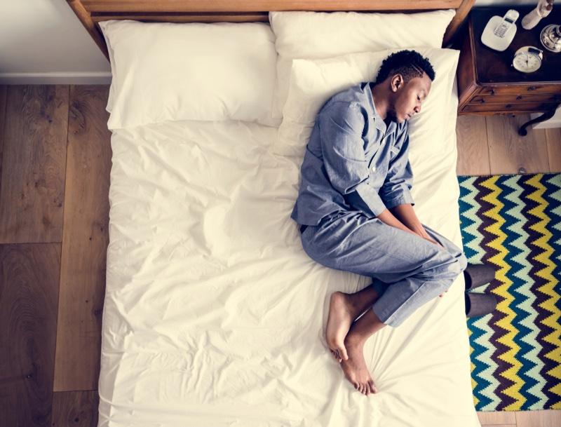 Black Man Blue Pajama Set Sleeping Bed
