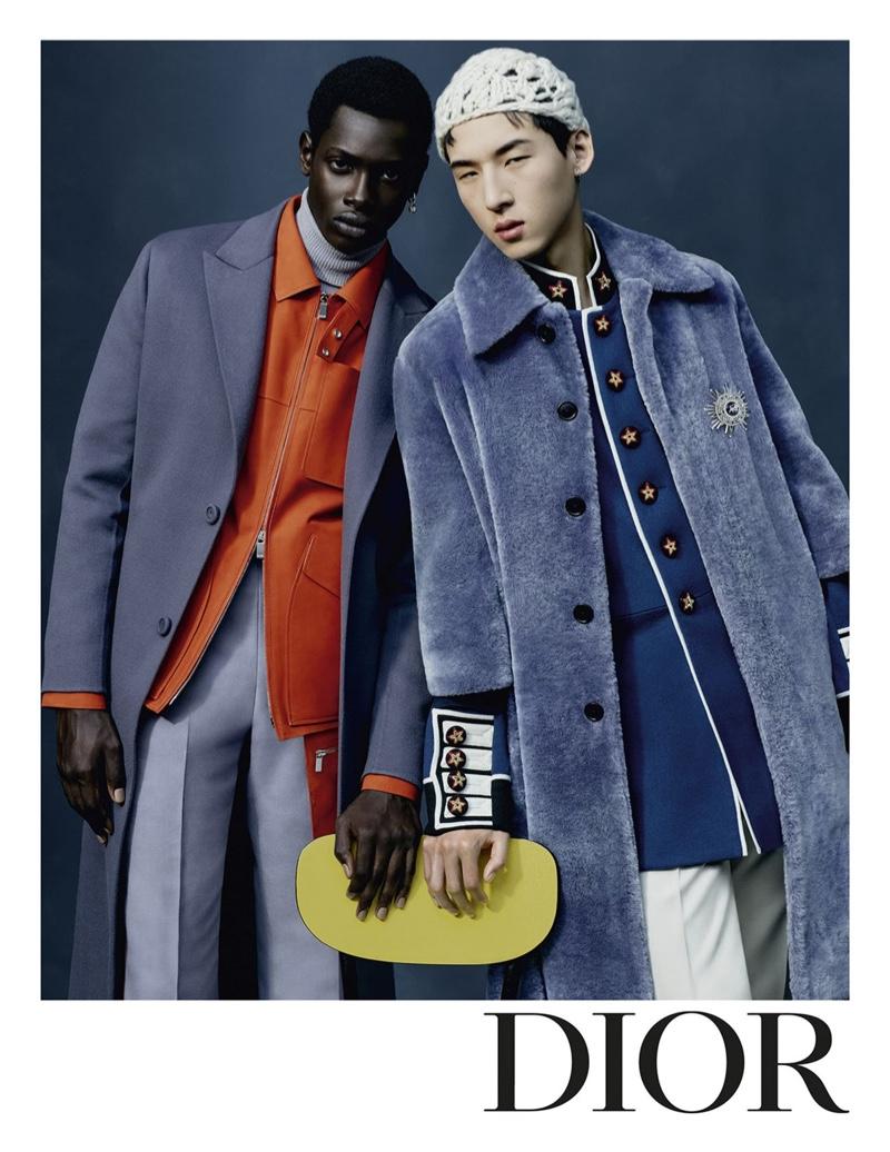 Models Djibril N'Diaye and Woosang Kim front Dior Men's fall-winter 2021 campaign.