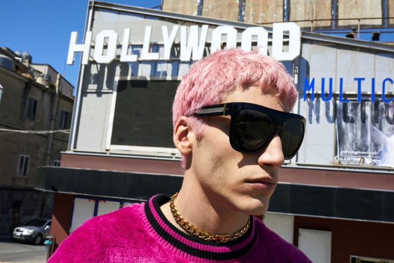 Juergen Teller photographs Riccardo A. (Boom Models) for Dolce & Gabbana's fall-winter 2021 men's eyewear campaign.