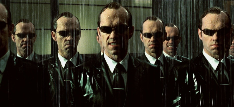 Hugo Weaving terrifies as the dapper Mr. Smith in 2003's The Matrix Revolutions. And if you're wondering how to pinpoint how serious he and his clones are about style, take note of their tie clips.