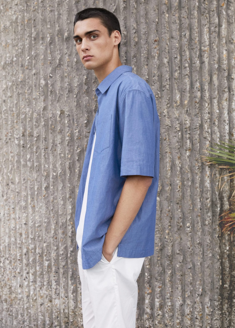 Model Ludwig Wilsdorff dons a relaxed-fit cotton shirt from Mango Man.