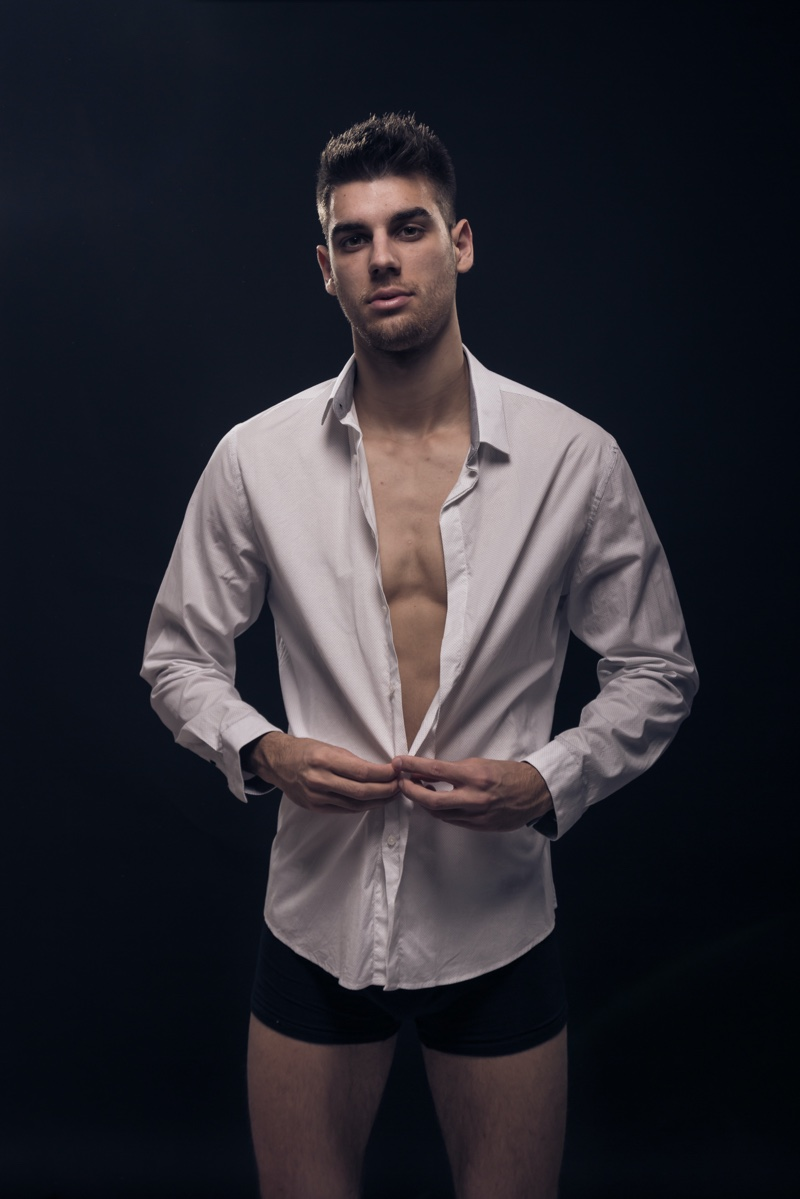 Male Model Buttoning Up Shirt Boxers Photo