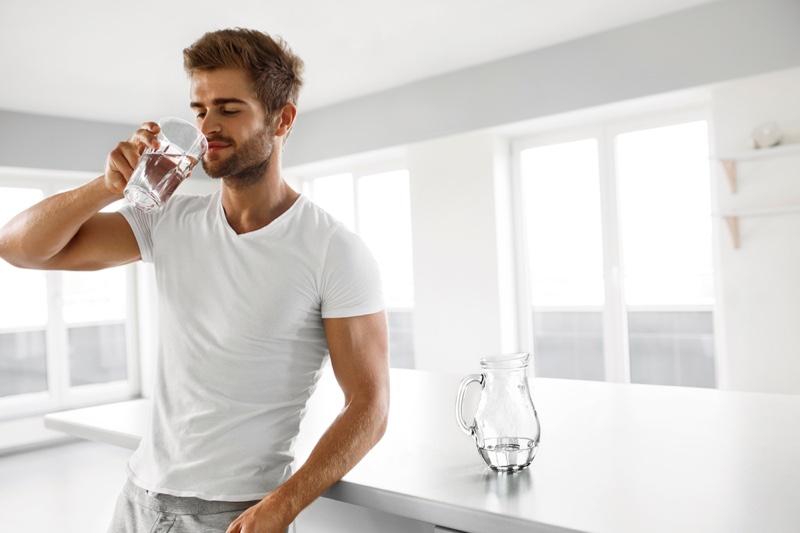 Male Model Drinking Water Glass