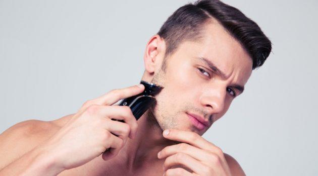 Male Model Shaving Electric Razor Skin