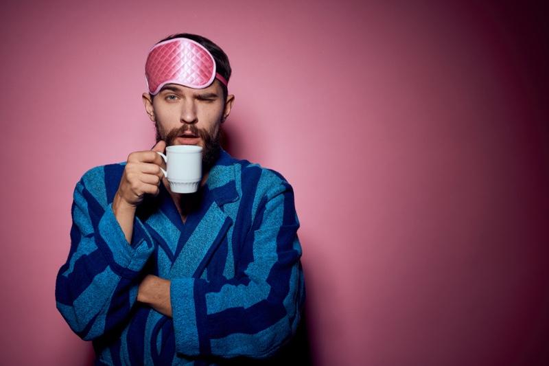 Man Blue Striped Robe Eyemask Cup