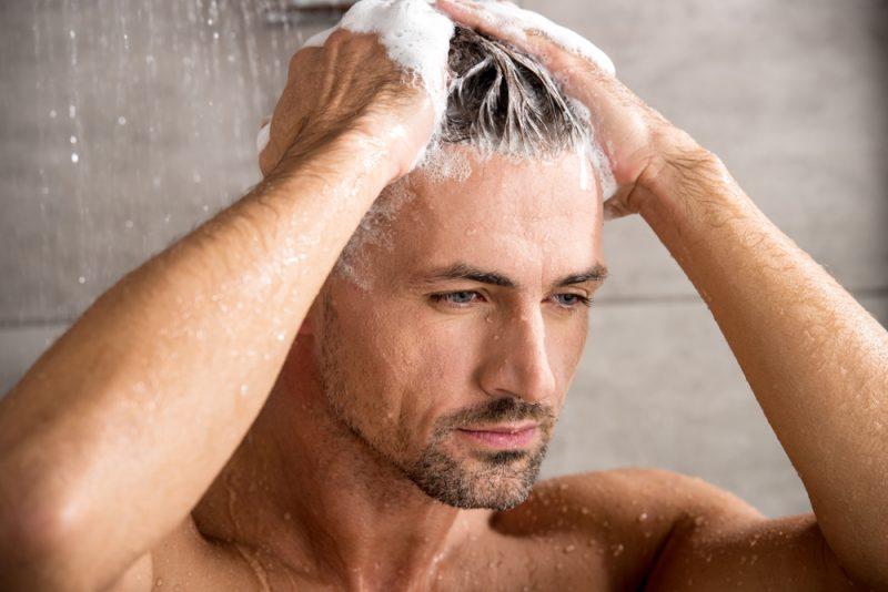 Man Conditioning Hair