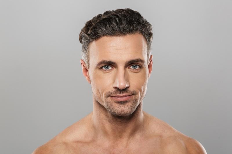 Man Greying Hair Healthy Thick