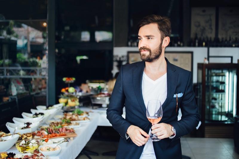 Man Suit Jacket Restaurant Wine Glass