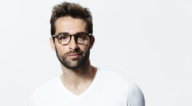 Man V Neck Shirt White Boxers Glasses