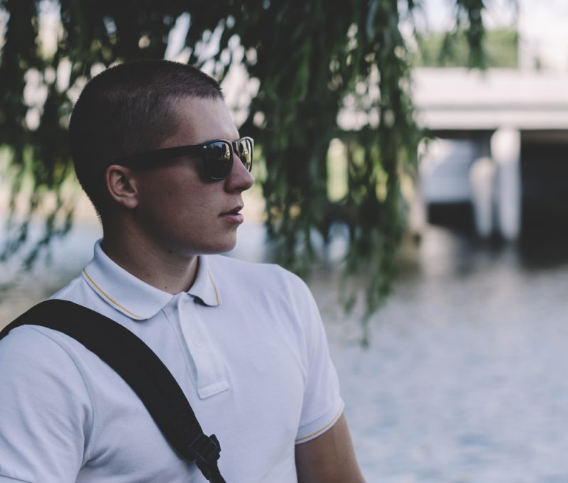 Man Wearing Clubmaster Sunglasses
