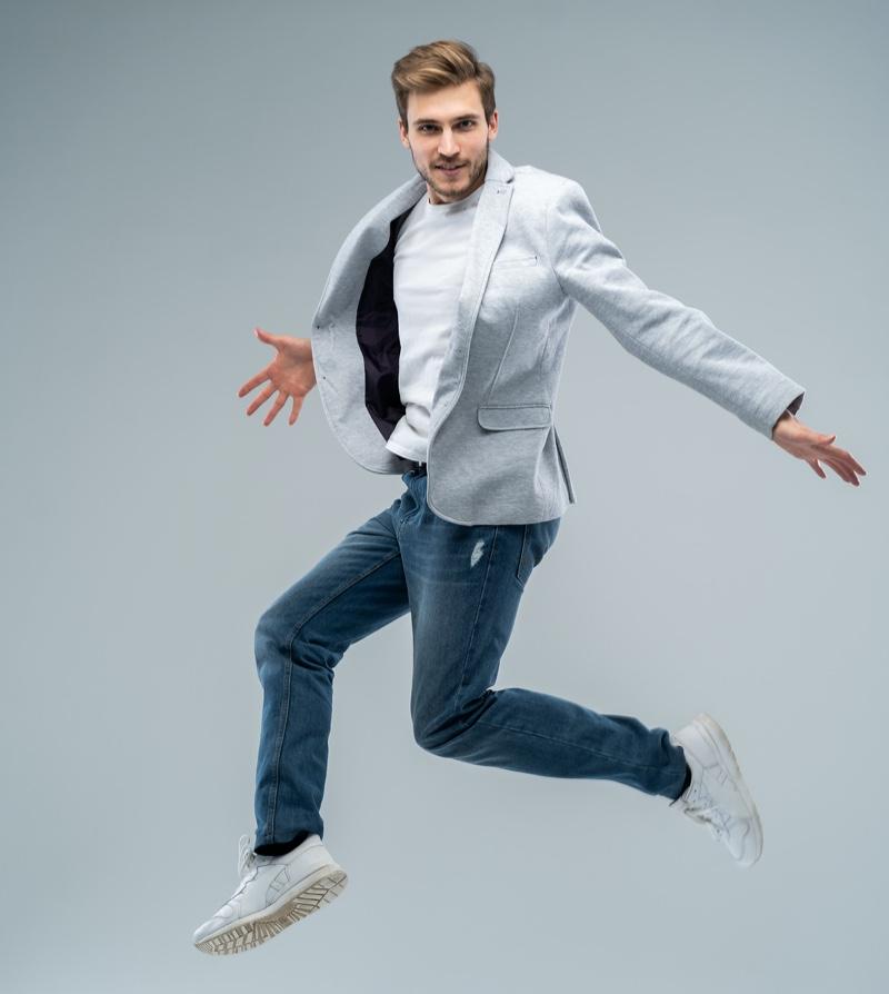 Man Wearing White T-Shirt Blazer Jeans