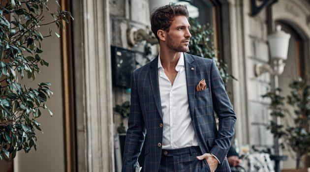 Man Wearing Windowpane Print Suit