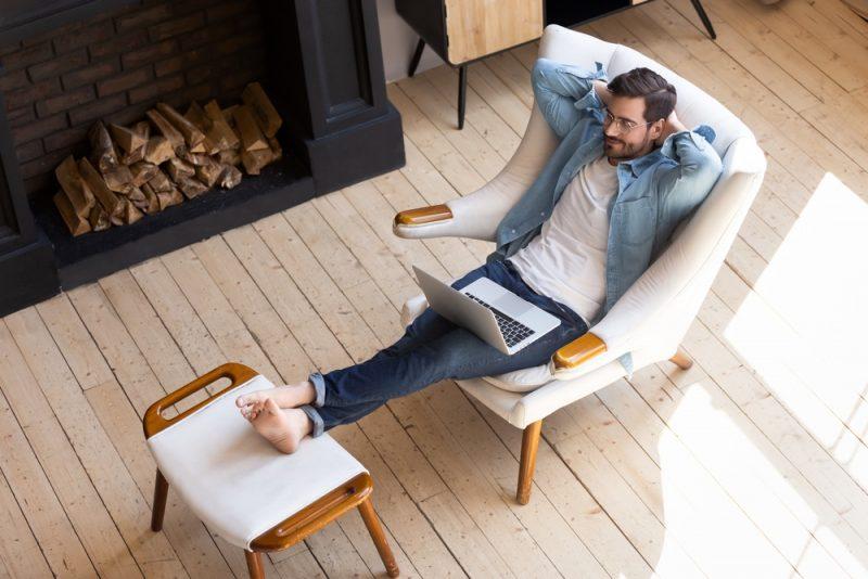 Man at Peace Relaxing at Home