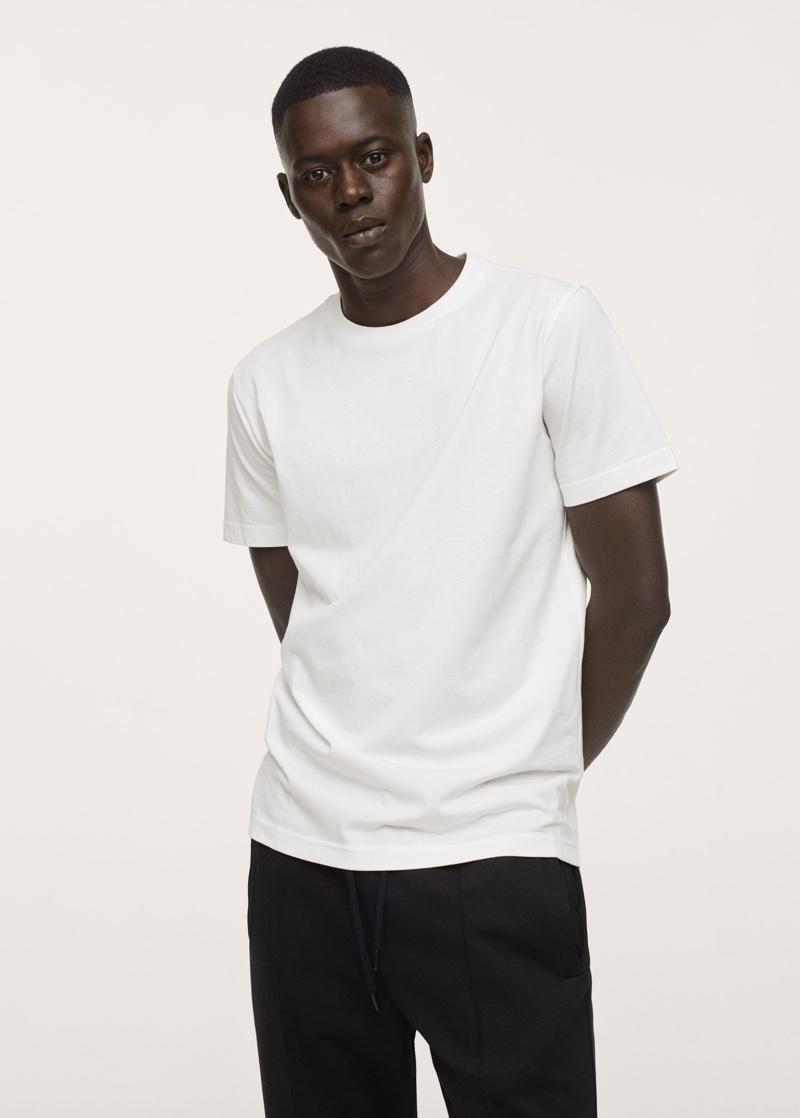 Mango Cotton Regular-Fit White T-Shirt