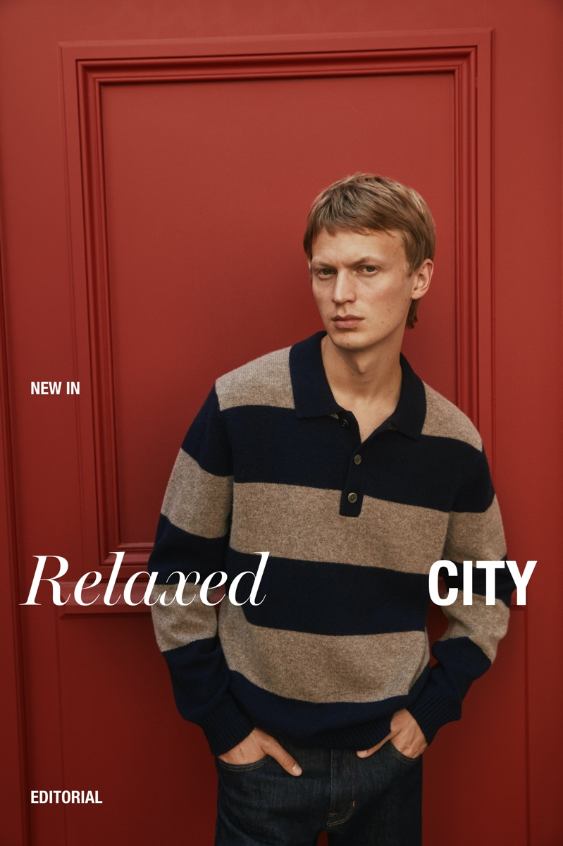 Jonas Glöer dons a rugby-style knit polo for a new Massimo Dutti editorial.