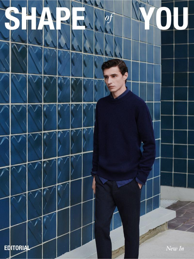 Adrien Sahores stars in a fall 2021 men's editorial for Massimo Dutti.