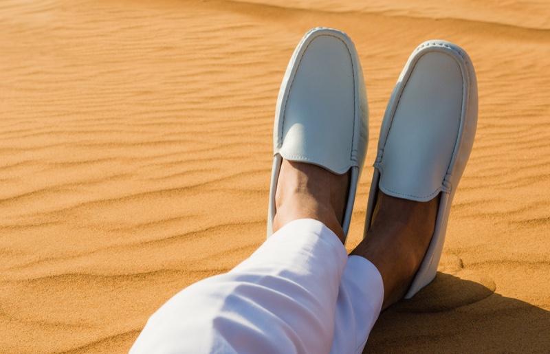 Mens White Loafers Sand Desert