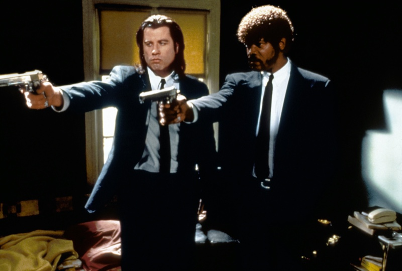 John Travolta and Samuel L. Jackson star in 1994's iconic Pulp Fiction. A famous image in pop culture, the pair stands out in trim tailored black suits.