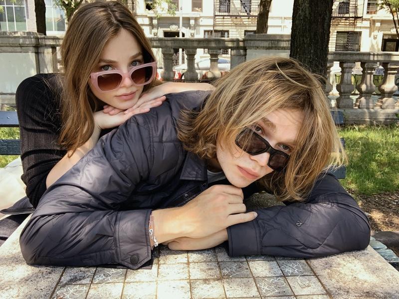 Posing for a selfie, Kristine Froseth and Charlie Plummer star in Rag & Bone's fall 2021 eyewear campaign.