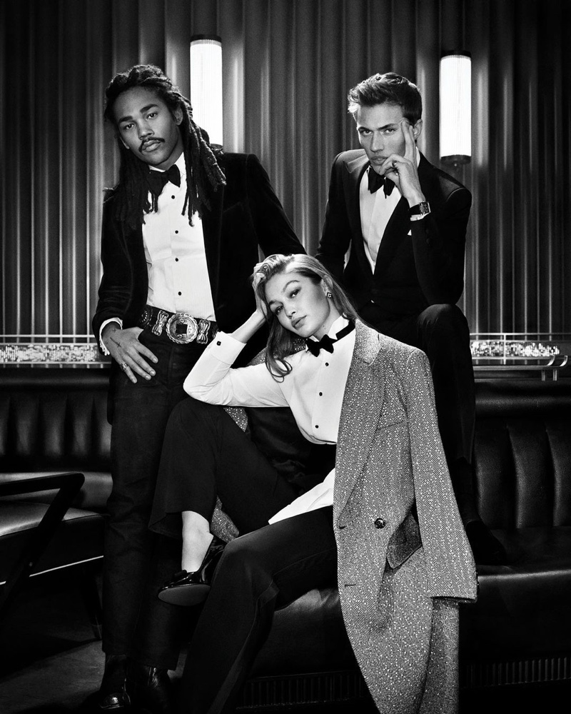 Models Luka Sabbat, Gigi Hadid, and Lucky Blue Smith star in the Ralph Lauren Ralph's Club fragrance campaign.