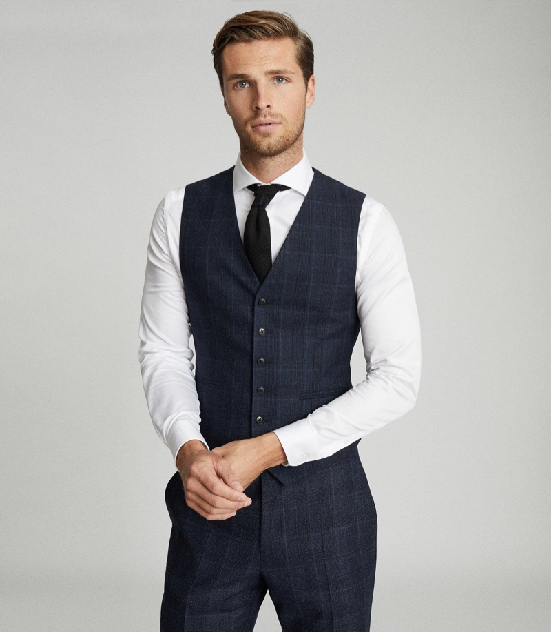 Reiss Mens Wool Checked Indigo Waistcoat