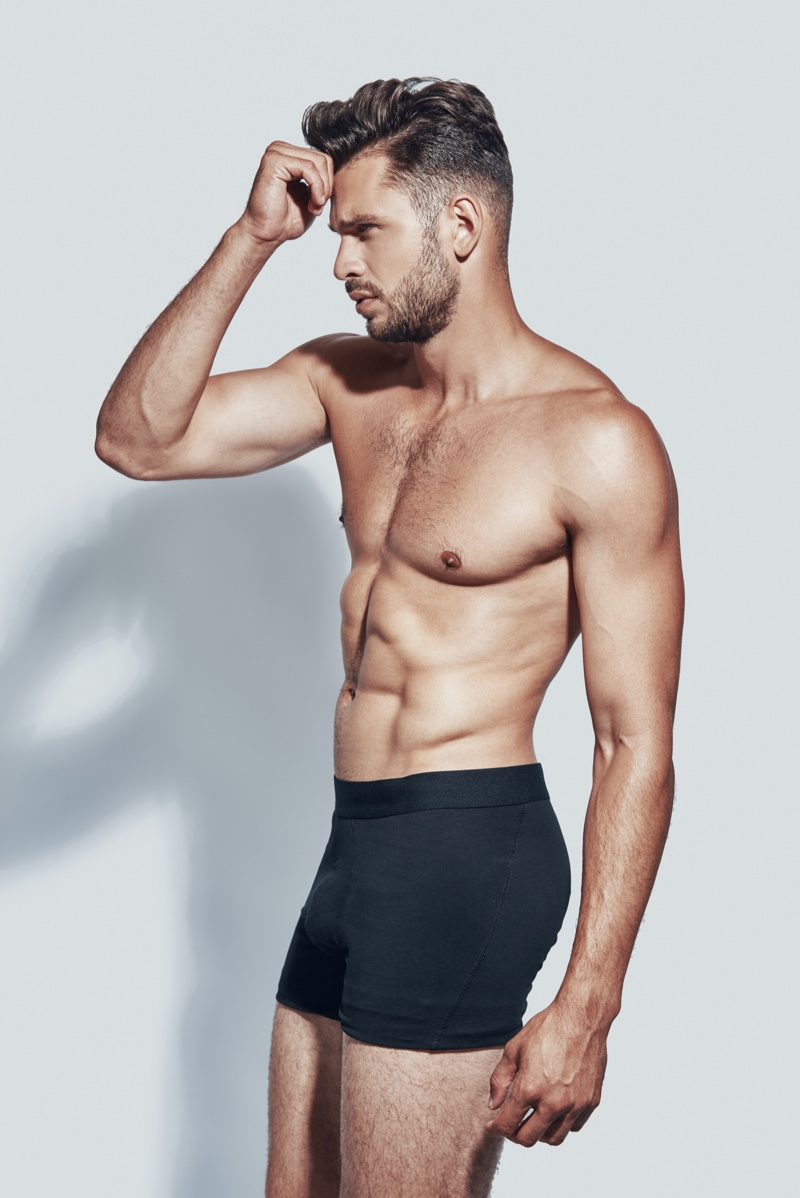 Side View Male Six Pack Boxers Studio