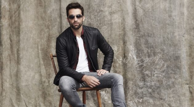 Stylish Man in Jeans and Leather Jacket