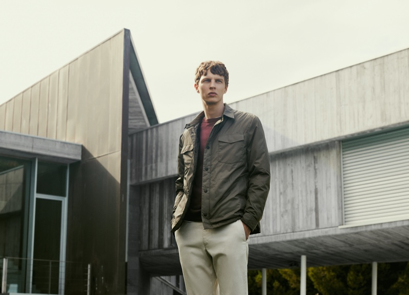 Front and center, Tim Schuhmacher models the latest menswear from Massimo Dutti.