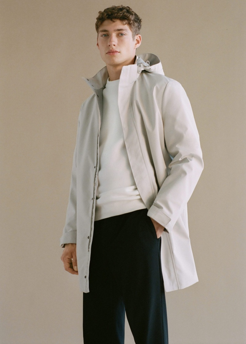 Front and center, Valentin Humbroich sports a breathable waterproof parka and elastic waist cotton pants from Mango Man.