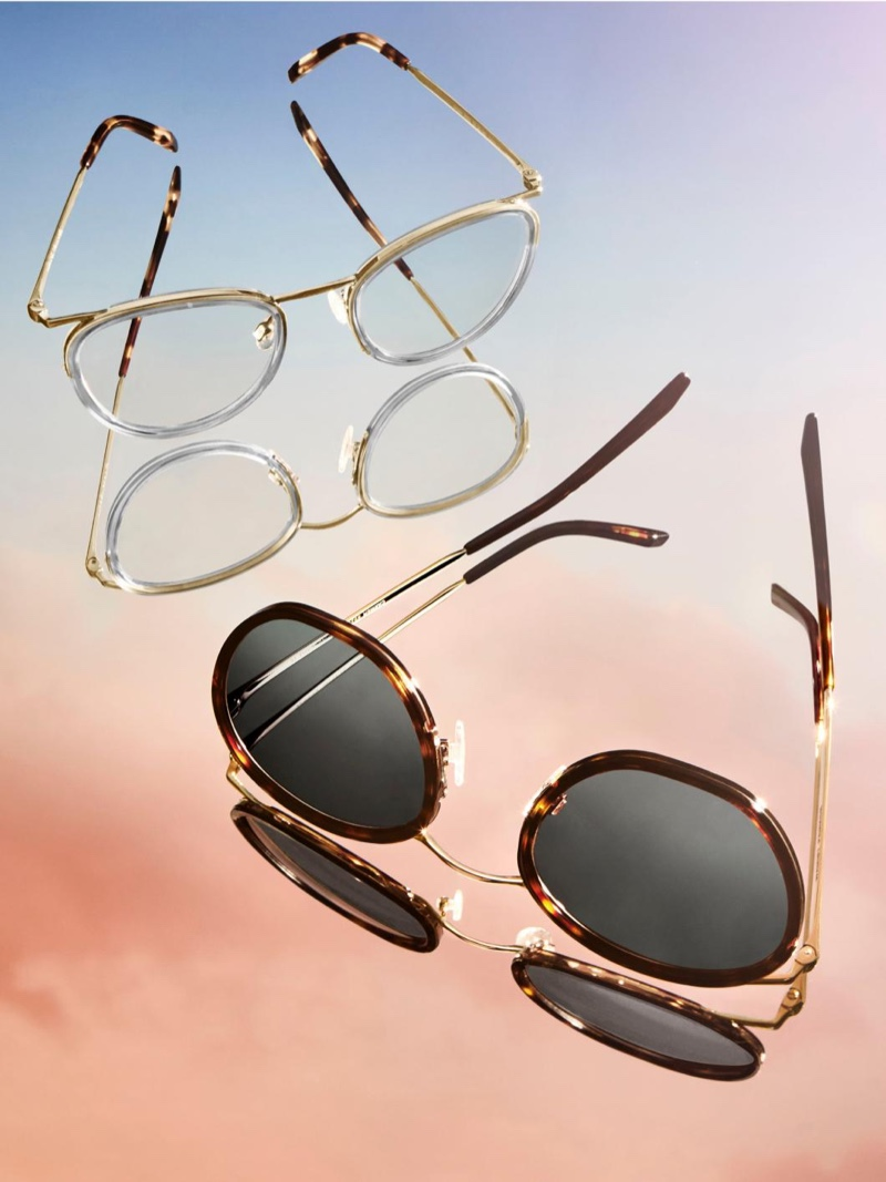 Pictured left to Right: Dinah glasses in Soapstone with Riesling and Carmen sunglasses in Cognac Tortoise with Polished Gold from Warby Parker.