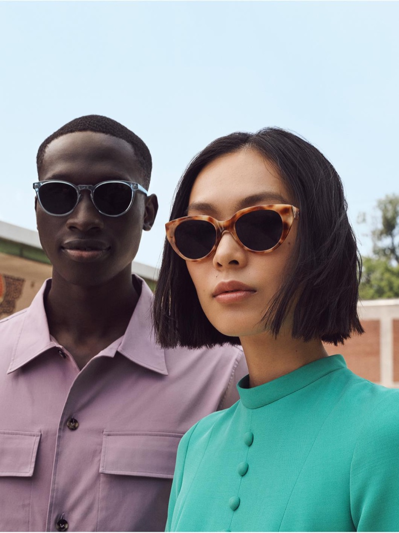 Sporting new sunnies, Baba Diop wears Warby Parker's Stiles sunglasses in Pacific Crystal.