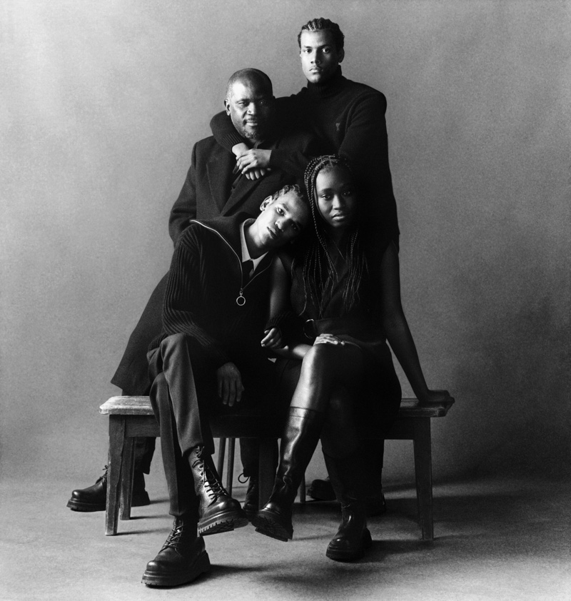 Benny and Otis Giovanni pose with family for AMI's fall-winter 2021 campaign.