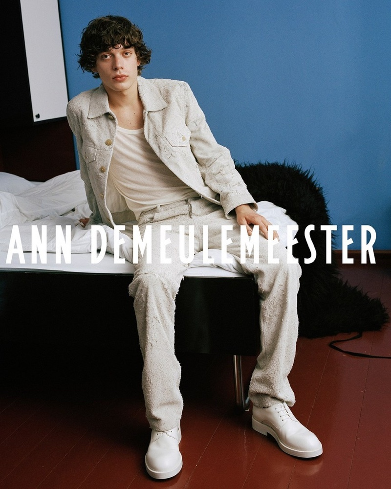 In front and center, Nick stars in Ann Demeulemeester's fall-winter 2021 campaign.