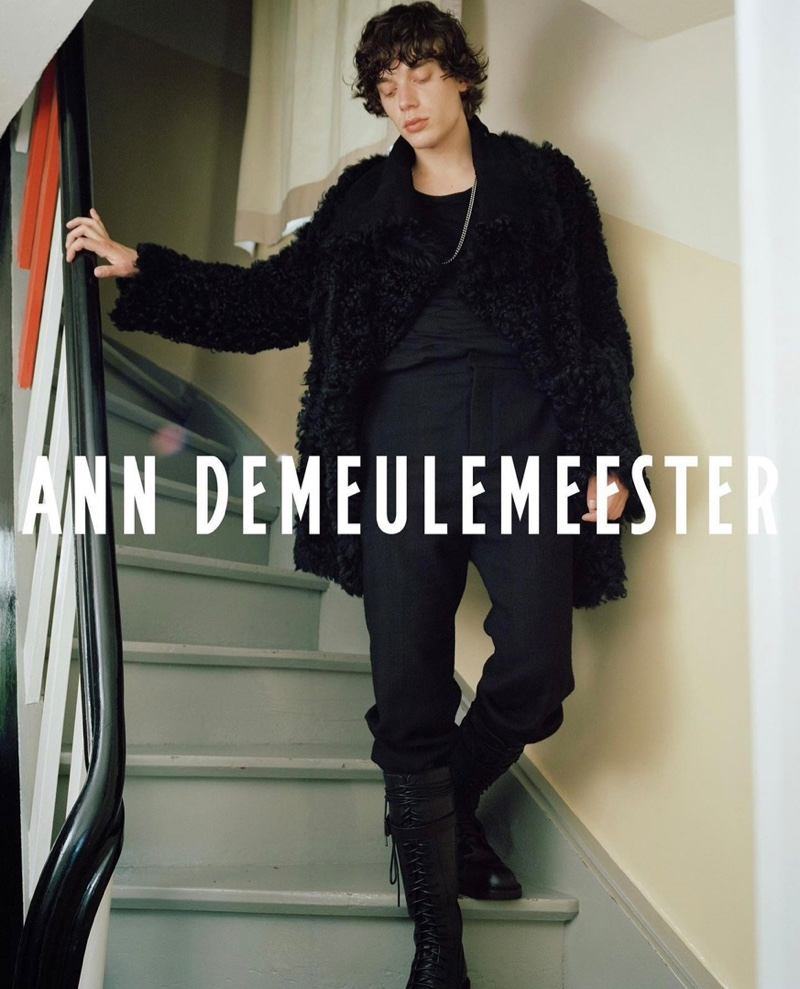 Heading out, Nick fronts Ann Demeulemeester's fall-winter 2021 campaign.